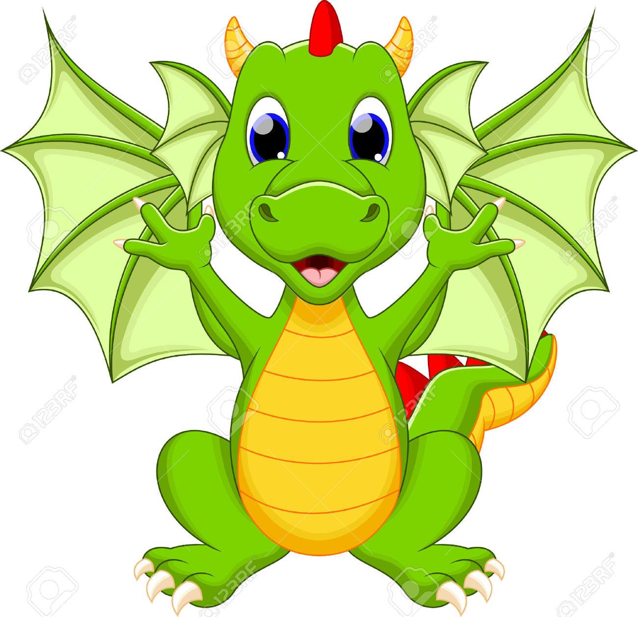 30015817-Drago-divertente-cartone-animato-Archivio-Fotografico
